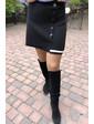 Ассиметричная трикотажная юбка с пуговицами и белой полоской LUREX - черный цвет, S (есть размеры)