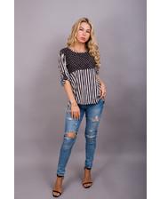 Летняя блуза с горохом и полосами - черный цвет, S (есть размеры)