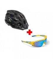 Lynx Комплект велошлем Morzine Matt Black + очки Detroit UKR shiny yellow/blue