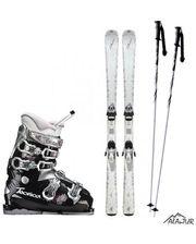 Комплект горнолыжный акционный женский (лыжи+палки+ботинки)