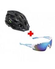 Lynx Комплект велошлем Morzine Matt Black + очки Detroit W shiny white