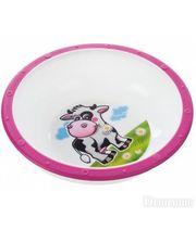 Canpol Тарелка-миска пластиковая с нескользящим дном Корова, с розовым ободком (4/416-5)