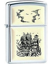 Zippo 359 (SCRIMSHAW SHIP HIGH POLISH CHROME)