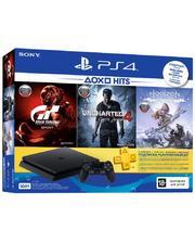 Sony Игровая приставка PlayStation 4 Slim 500 Gb Black (HZD+GTS+UC4+PSPlus 3М)